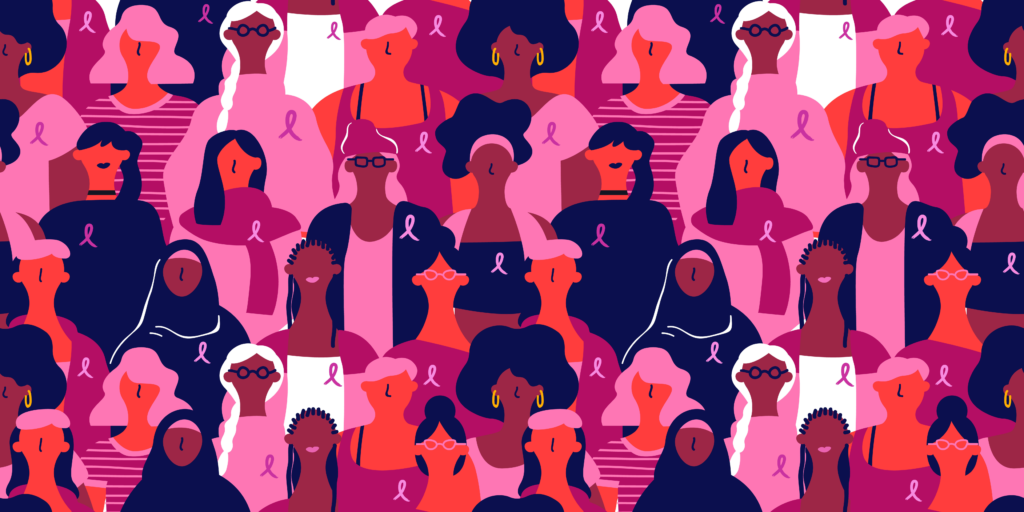 Graphic of multi-racial women wearing pink breast cancer awareness ribbon